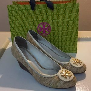 Tory Burch Straw and Leather Wedges